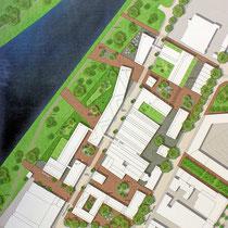 Lage der Gebäude. Darstellungen zum städtebaulichen und freiraumplanerischen Konzept: Trint+ Kreuder mit KLA kiparlandschaftsarchitekten GmbH