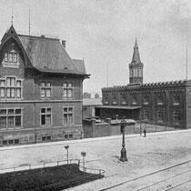 Gehwege und Parkbänke an der Werftanlage Mülheimer Hafen, um 1909.