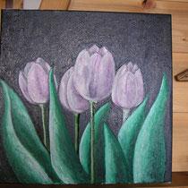 Tulipes violettes huile sur toile 45x45 cm