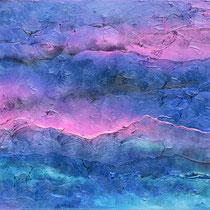Coucher de soleil exagéré (montagne bleu) 1.50 x 40 cm
