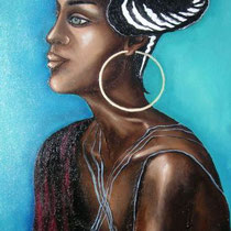Princesse noire - huile sur toile 55 x 45 cm 2006