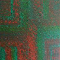 Abstrait rouge vert 100 x 100 cm