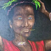 Femme avec le bois 80x60cm
