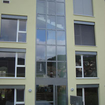 Treppenhaus Verglasung mit Eingangstür und RWA-Flügel
