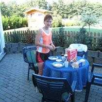 Hunsrück Urlaub 2007 - Frühstück nach dem Training :-)