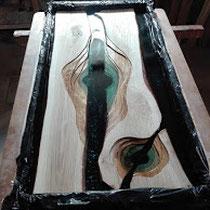 dessus de table résine et bois