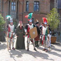 La garde écossaise, Nathalie Brandt devant le château d'Ooidonck