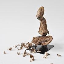Errance, 2015, palmier, cristal, papillons, H 16cm