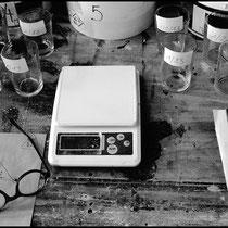 Recherche de recettes d'emaux de cendres. Crédit photo Rémi Lubin