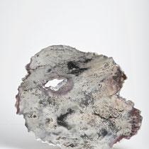 Céramique, feuille d'argent, enfumage, 39x34 cm, 2019
