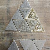 Plaquettes d'échantillons d'emaux de cendres de RIZ de Camargue, de sel et de limons du Rhône.