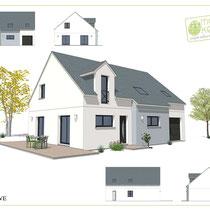plans maison à étage avec enduit bicolore blanc et bleu ciel