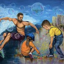 Seifenblasen am Horizont | Oil on canvas | 124 x 135cm | 2017