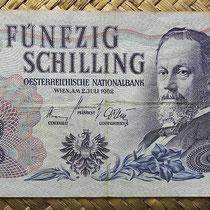 Austria 50 shillings 1962 (140x68mm) pk.137 anverso
