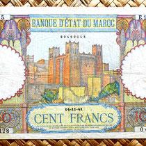 Marruecos 100 francos 1941 (174x100mm) anverso