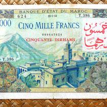Marruecos colonial 5000 francos 1953 sobreimpresion 50 dirhans anverso