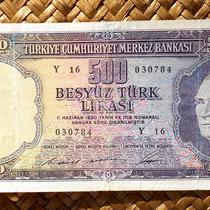 Turquía 500 liras 1953 anverso