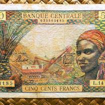 Africa Ecuatorial 500 francos 1963 anverso (140x90mm)