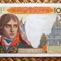 Francia 10000 francos 1957 reverso