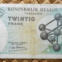 Bélgica 20 francos 1964 reverso con el Atomium como grabado