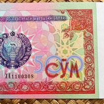 Billete de 500 som de Uzbekistan de 1999; anverso