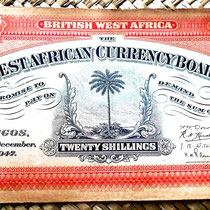 British West Africa 20 chelines 1947 anverso