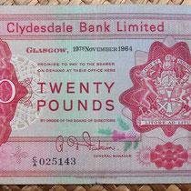 Escocia Clydesdale Bank 20 libras 1964 anverso