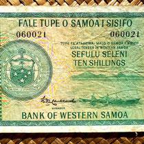 Western Samoa 10 shillings 1963 (134x74mm) anverso