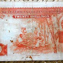 British West Africa 20 chelines 1953 reverso