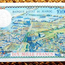 Marruecos colonial 10000 francos 1955 sobreimpreso 100 dirham reverso