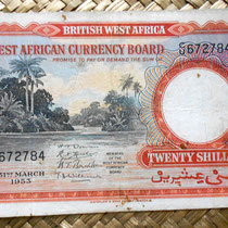 British West Africa 20 chelines 1953 anverso