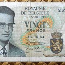 Bélgica 20 francos 1964 anverso