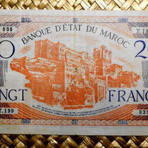 Marruecos 20 francos 1943 (160x92mm) anverso