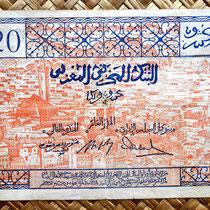 Marruecos 20 francos 1943 (160x92mm) reverso
