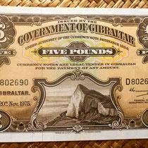 Gibraltar 5 pounds 1975 anverso