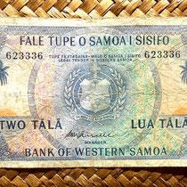 Western Samoa 2 tala 1967 (144x74mm) anverso