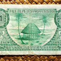 Western Samoa 1 tala 1967 (134x74mm) reverso