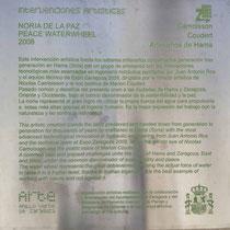 Placa recuerdo del tandem Artesanos Hama-Zaragoza Expo 2008 en noria del Parque del Agua
