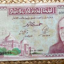Túnez 5 dinares 1965 anverso