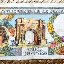Túnez 5 dinares 1965 reverso