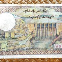 Marruecos colonial 5000 francos 1953 sobreimpresion 50 dirhans reverso