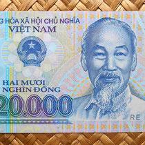 Vietnam 20.000 dong 2014 anverso con el líder vietnamita Ho Chi Minh