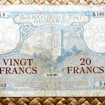 Marruecos colonial 20 francos 1945 anverso
