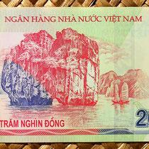 Reverso del billete de 200.000 dong de Vietnam de 2007