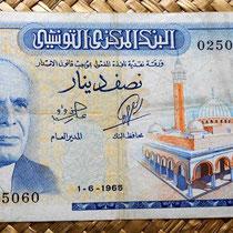 Túnez 0,50 dinar 1965 anverso