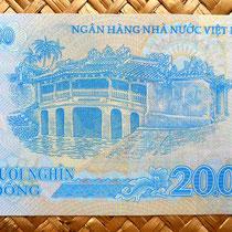 Vietnam 20.000 dong 2014 reverso con el Puente cubierto japonés