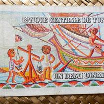 Túnez 0,50 dinar 1965 reverso