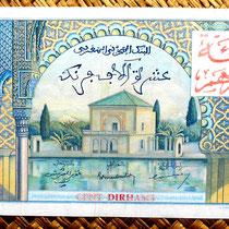Marruecos colonial 10000 francos 1955 sobreimpreso 100 dirham anverso