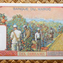 Marruecos 5 dirhans 1965 reverso