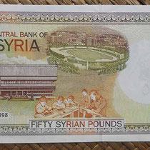 Siria 50 libras 1998 pk. 107 reverso